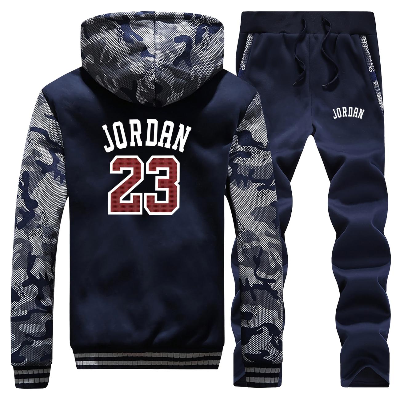 Winter 2019 New Coat Thick Men Hoodie Jordan 23 Print Suit Warm Jackets Mens Camouflage Fleece Sportswear+ Pants 2 Piece Set