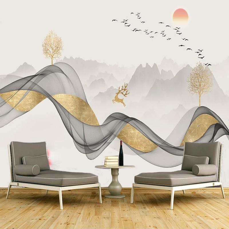 Gold Geometric Abstract Lines Retro Minimalist Background Wall Professional Custom Murals Wallpaper Poster Photo Wall Wholesale