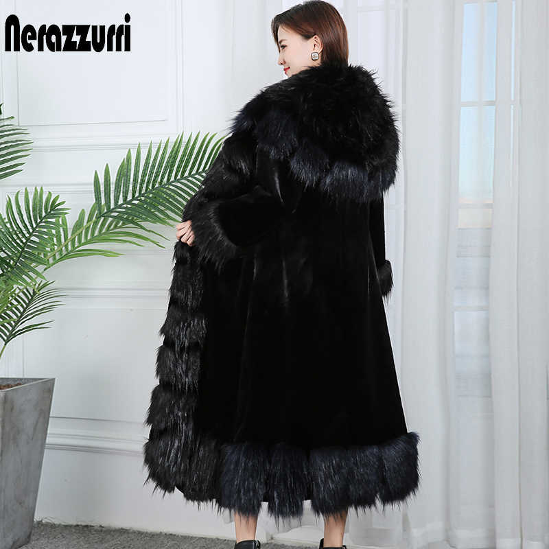 Nerazzurri 플러스 사이즈 긴 가짜 모피 코트 여성용 4xl 5xl 6xl 7xl 두꺼운 따뜻한 보라색 검은 가짜 모피 코트 여성 여우 모피 트림