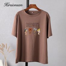 Hirsionsan Gothic Character Printed T Shirt Women Harajuku Soft Summer Cotton Tshirt Korean Loose Tees Ins Casual Female Tops