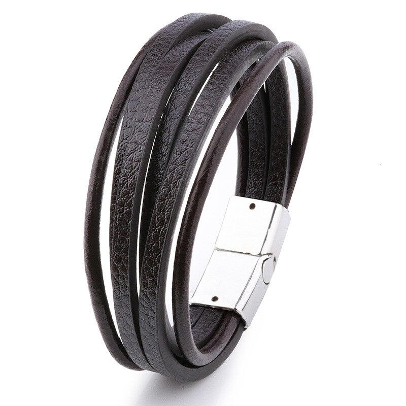 Мужской браслет, многослойный кожаный браслет с магнитной застежкой, Воловья кожа, плетеный многослойный браслет, модный браслет на руку, pulsera hombre - Окраска металла: 12