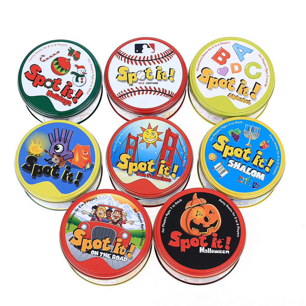 Spot It And Dobble Card Game Table Board Game For Dobbles Kids Spot Cards It Go Camping Metal Tin Box Toys Classic Education