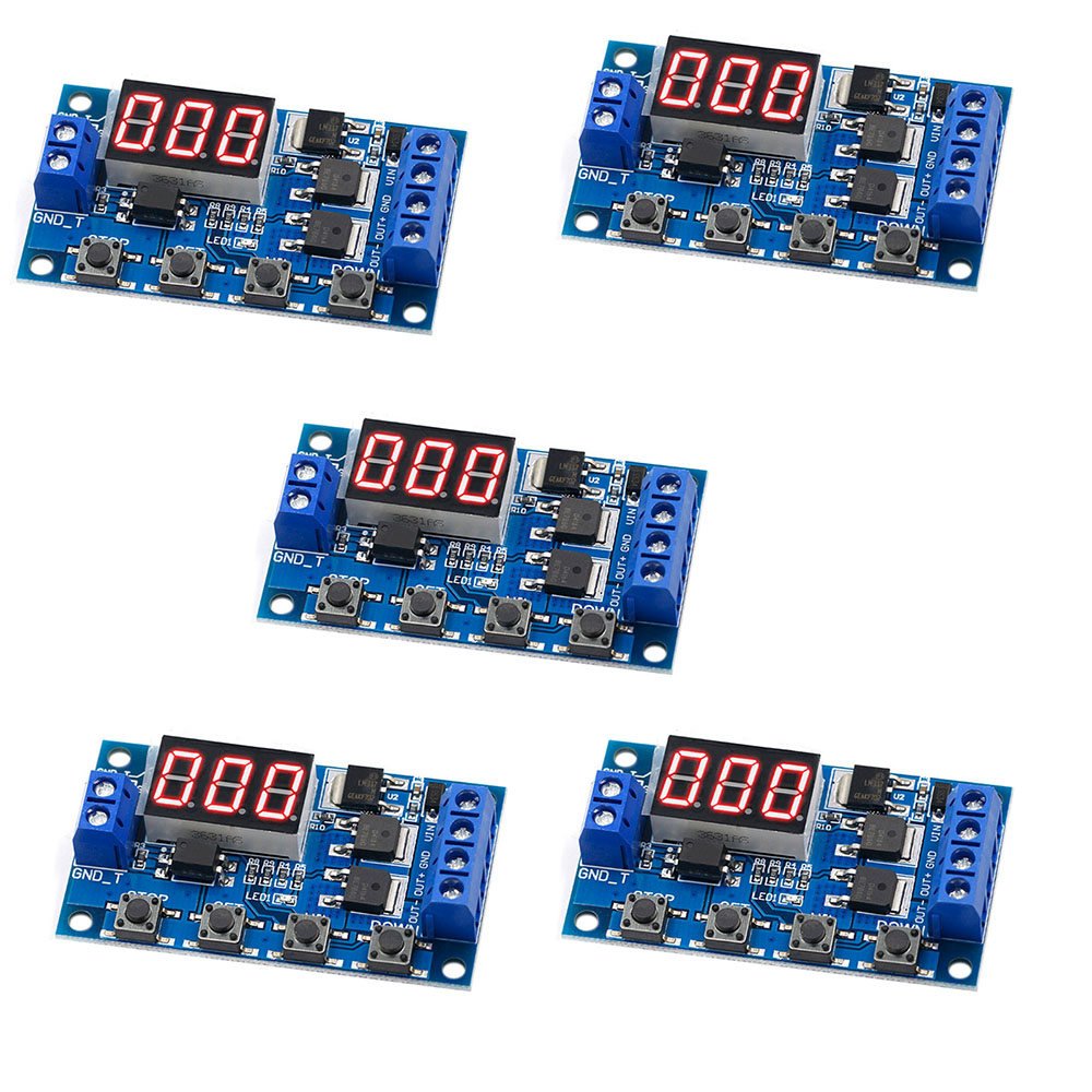 5PCS DC 12V 24V Dual MOS LED Digital Time Delay Relay Trigger Cycle Switch Circuit Board Timing Control Module RCmall FZ3746