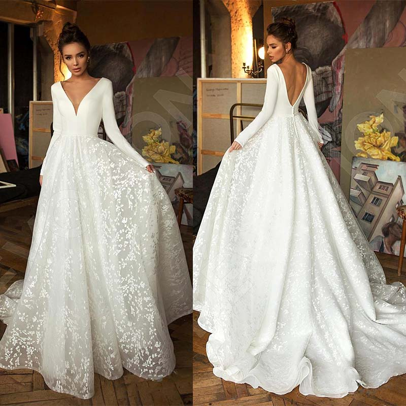 Bride Dress Satin Long-Sleeve Wedding Vintage Robe-De-Mariee Lace Backless V-Neck Deep