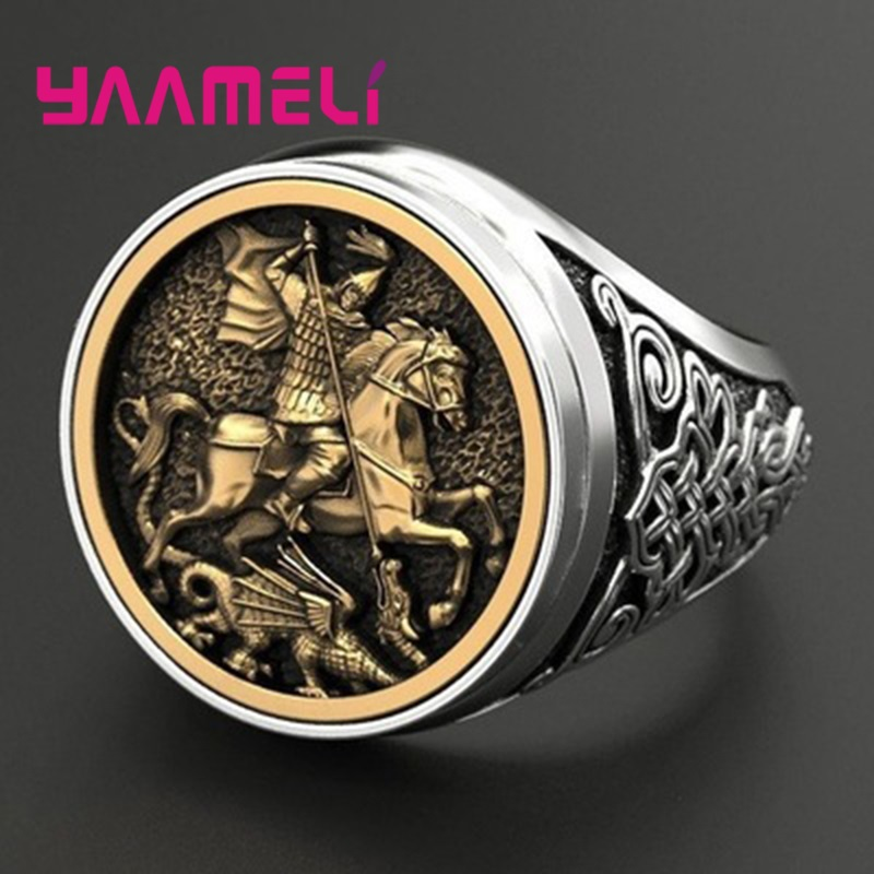 Soldier 925-Ring Heavy-Jewelry Wide-Band Punk Dragon-Hero-Design Sterling Silver Personality