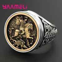 Outlets 925 anillo para hombre de plata de ley soldado Dragon Hero diseño estilo Hip Hop Punk ancho banda personalidad joyería pesada