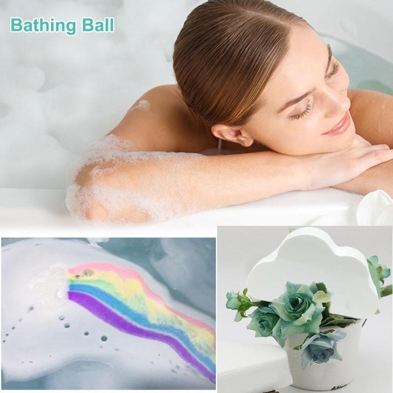1pcs Natural Skin Care Cloud Rainbow Bath Salt Exfoliating Moisturizing Bubble Bath Bomb Ball Effectively Soften Cutin Clean Fat