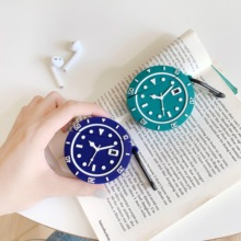 3D watch-shaped Silicone Bluetooth Wireless Earphone Case Protective Cover for Airpods Charging Box anti-fall earphone case with ring hook