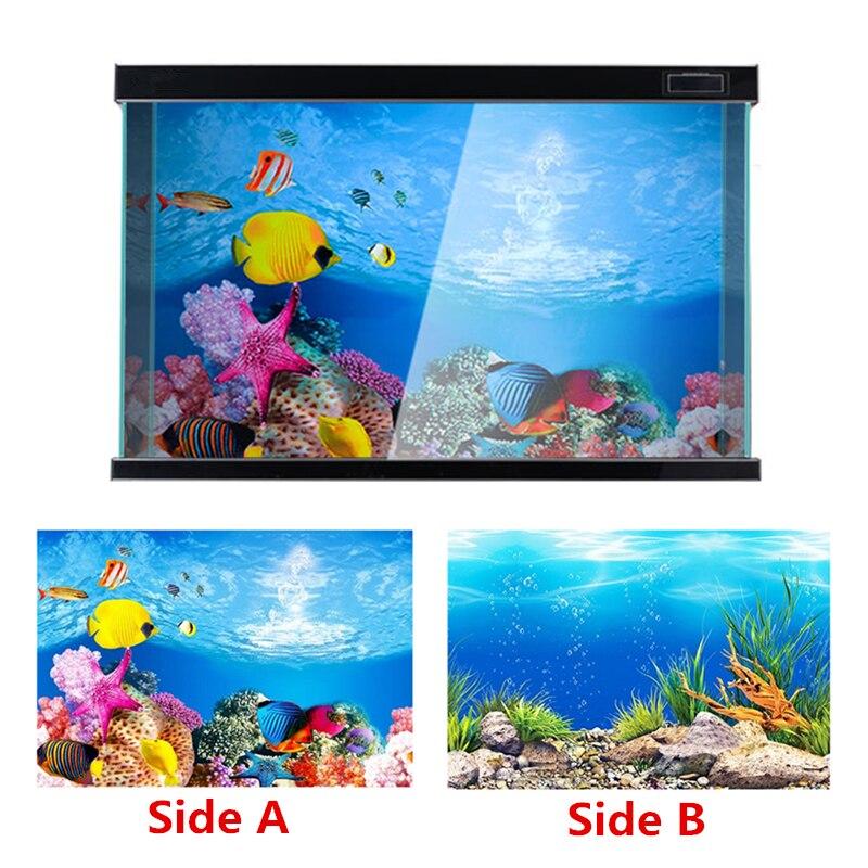 PVC Double Side Aquarium Decoration Poster Fish Tank Background Sticker Ocean Acuario Decor Ornament Decorative Accessories