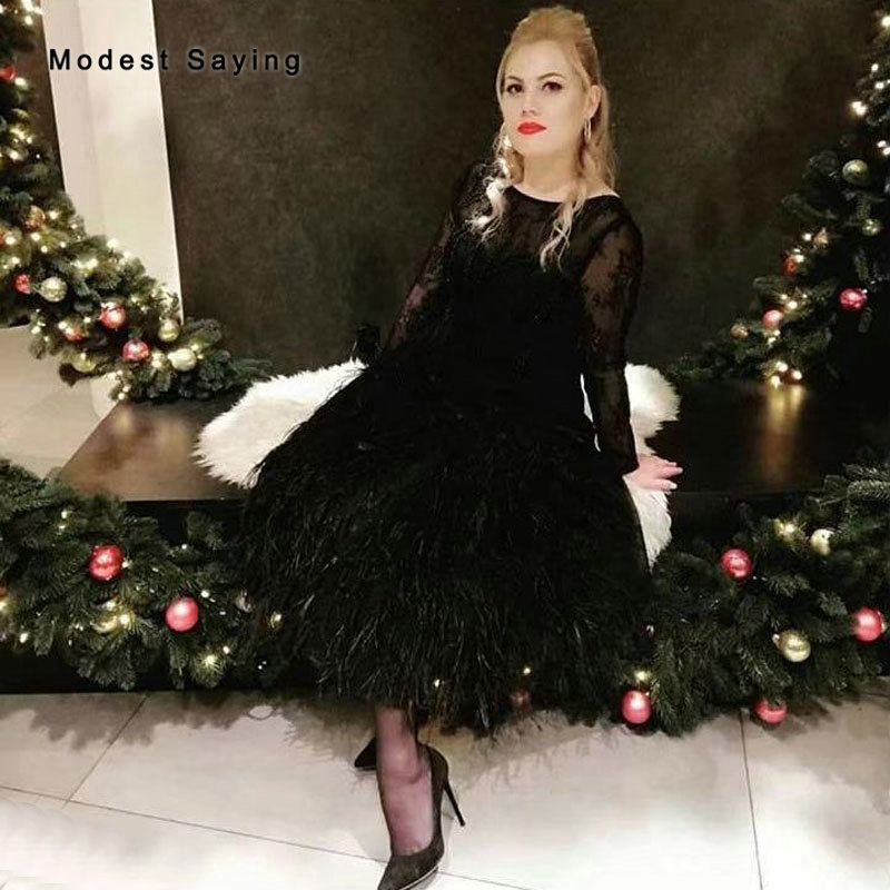 Classic Black Long Sleeves Lace Ostrich Feather Cocktail Dresses 2020 Tea-Length Girls Pearls Party Prom Gowns Robe Cocktail