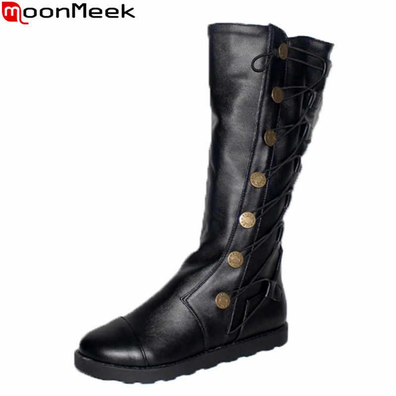MoonMeek büyük boy 34-43 yeni gelmesi moda diz yüksek çizmeler düz topuk yuvarlak ayak pu keather günlük ayakkabı rahat kadın botları
