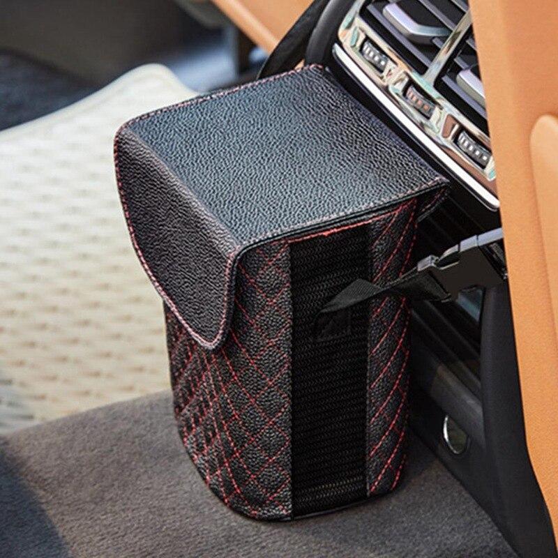 Leather Car Trash Bin Auto Organizer Storage Box Car Trash Can Rubbish Gargage Holder Automobile Storage Car Accessories|Car Trash| |  - title=