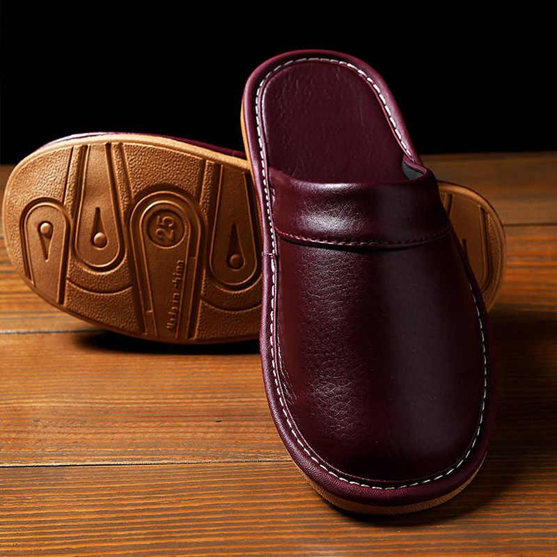 Deri terlik unisex ev ayakkabı erkekler ev terliği 2020 bahar yeni klasik ayakkabı adam deri terlik