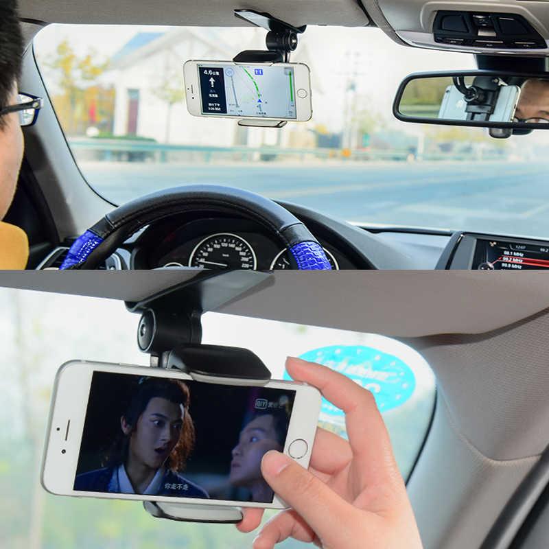2020 Baru 360 Mobil Klip Pelindung Matahari Cell Phone Holder Mount Stand Soporte Movil untuk iPhone 11 Gps Kaca Cermin Pemegang mobil Ponsel