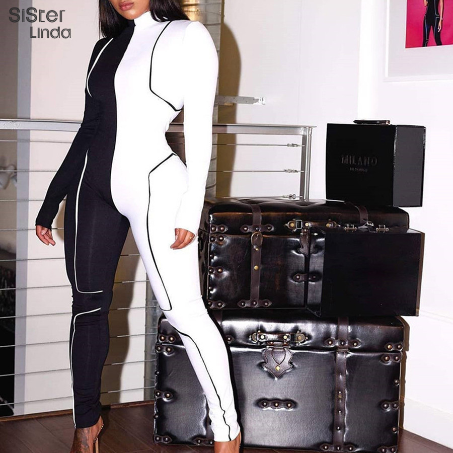 Sisterlinda Black White Patchwork Stripe Zip Jumpsuit Women Full Sleeve Turtleneck Rompers Women Jumpsuit Skinny Bodysuit Mujer