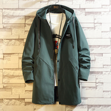 2020 Casual Black Green Red Mens Windbreaker Jackets Long Trench Coat For Men Spring Autumn Winter Clothes
