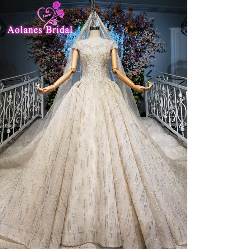 Luxurious Bridal Shiny Wedding Dress Lace Full Sequins Crystals Illusion Mesh Beading Tassel Princess Fantasy Bridal Ball Gown