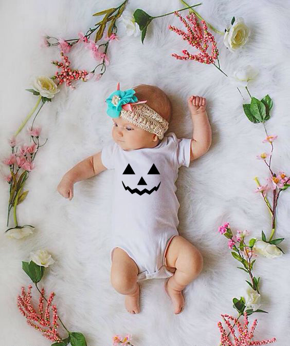 Pumpkin Face Toddler Infant Baby Boys Girls Halloween   Romper   Jumpsuit Palysuit Outfit Cotton Clothes White Wear Baby Halloween