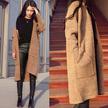 Knitted Sweater Long Sleeve Knee Length Shopping Stylish With Pockets Dating Casual Street Autumn Women Cardigan(China)