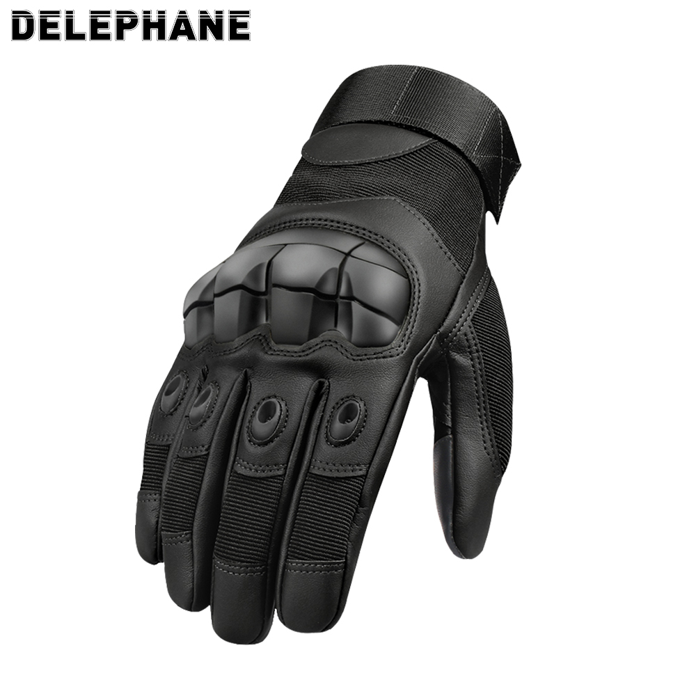 Leather Tactical Full Finger Gloves Men Women Winter Summer Touch Screen Hard Knuckles Paintball Driving Military Army Mittens