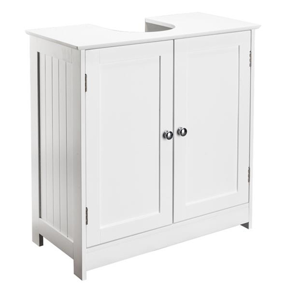 Storage Furniture Bathroom Sink Cabinet White Two Slatted Doors Waterproof MDF Bathroom cabinet