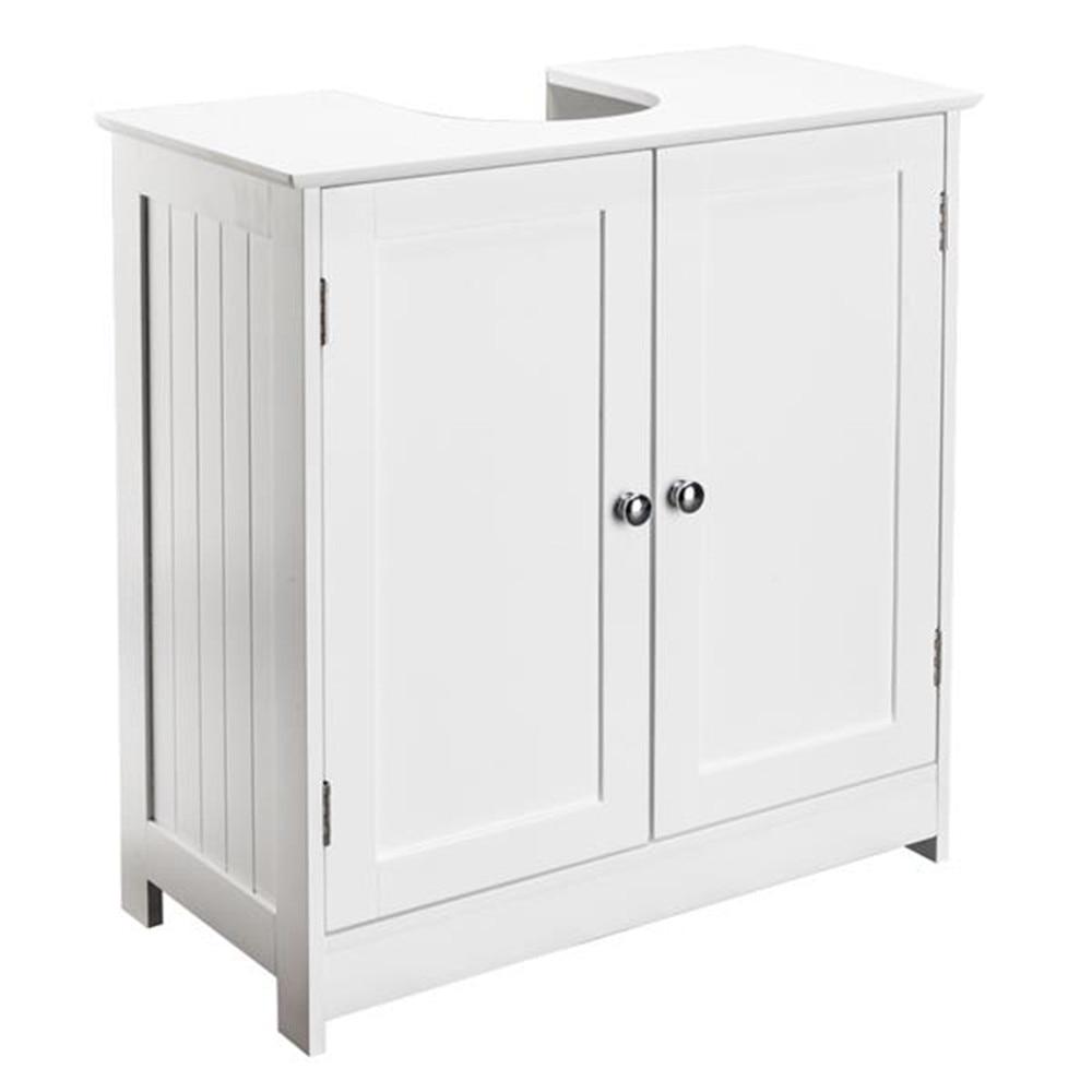 Storage Furniture Bathroom Sink Cabinet White Two Slatted Doors Waterproof MDF Bathroom Cabinet