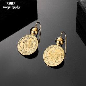 Image 1 - Винтажные висячие серьги подвески с гравировкой монеты для женщин 10 монета Франк круглая серьга Подвеска Серьги Прямая поставка