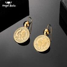 Jahrgang Gravierte Münze Tropfen Baumeln Ohrringe für Frauen 10 Franc Münze Runde Anhänger Ohrring Pendientes Drop Verschiffen