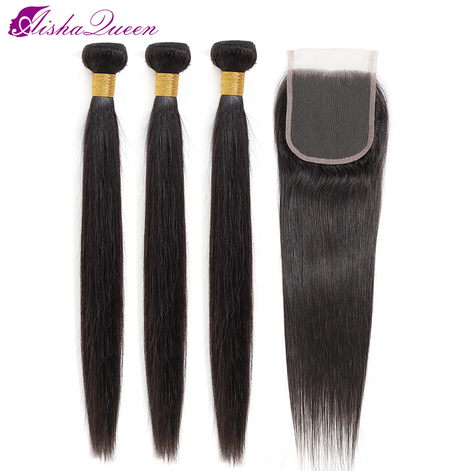 Aisha Queen Brazilian Straight Human Hair 3 Bundles With Closure 4x4 Natural Color Non Remy Hair Free Shipping