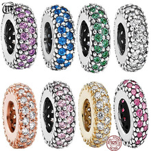 цена на New 925 Silver Shine CZ Round Charms Beads Fit DIY Bracelet For Women PAN Jewelry