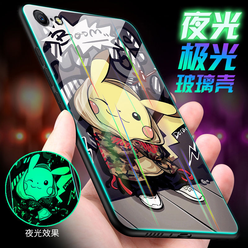 Hcba4f53977fa4c5686f97ba5aca9303aZ Luminous Tempered Glass Case For iPhone 5 5S SE 6 6S 7 8 Plus Case Back Cover For iPhone X XR XS 11 Pro Max Case Cover Cell Bag