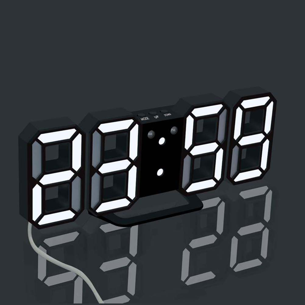 3D LED Wall Digital Clock Electronic Alarm For Living Room Bedroom Decoration Stereoscopic