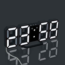 цены 3D LED Wall Digital Clock Electronic Alarm Clock For Living Room Bedroom Decoration Stereoscopic Wall Clock