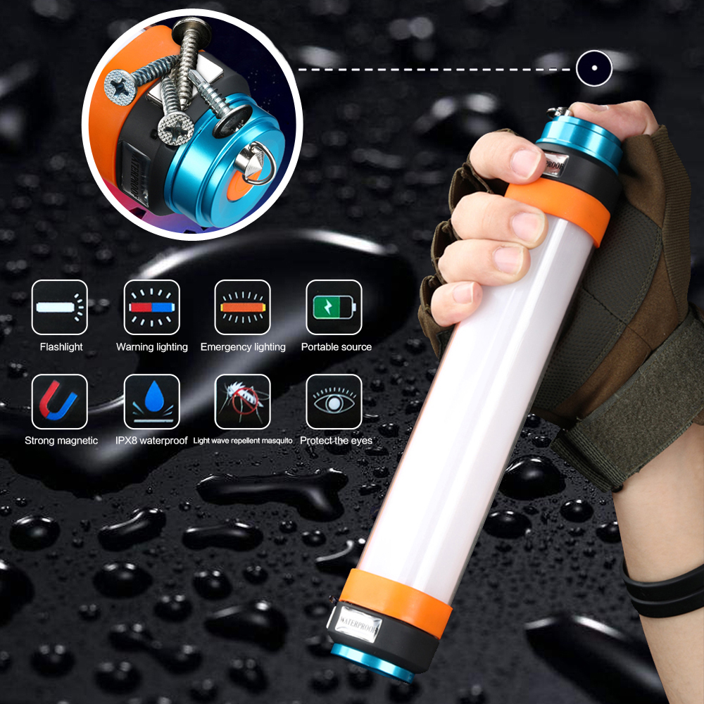 USB High Power Rechargeable LED Flashlight With A Magnet 18650 Torch Lantern Camping Light Work Waterproof SOS Emergency Lamp