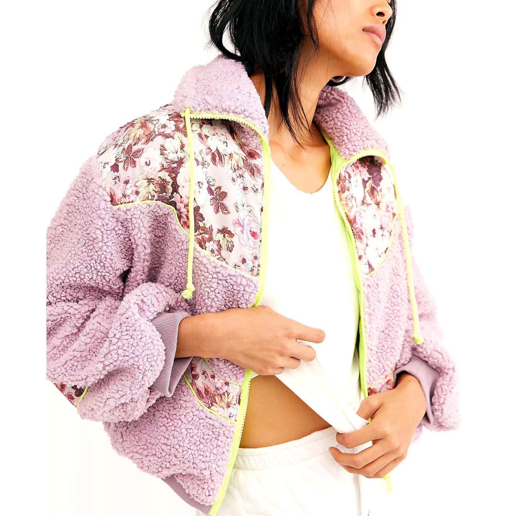 Купить gypsylady/фиолетовая толстая куртка с цветочным принтом повседневная