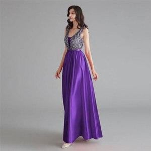 Image 4 - Schönheit Emily Satin Dark Rosa Brautjungfer Kleider 2020 V ausschnitt Schwere Perlen A line Hochzeit Party Kleid Formale Kleid Robe De soiree