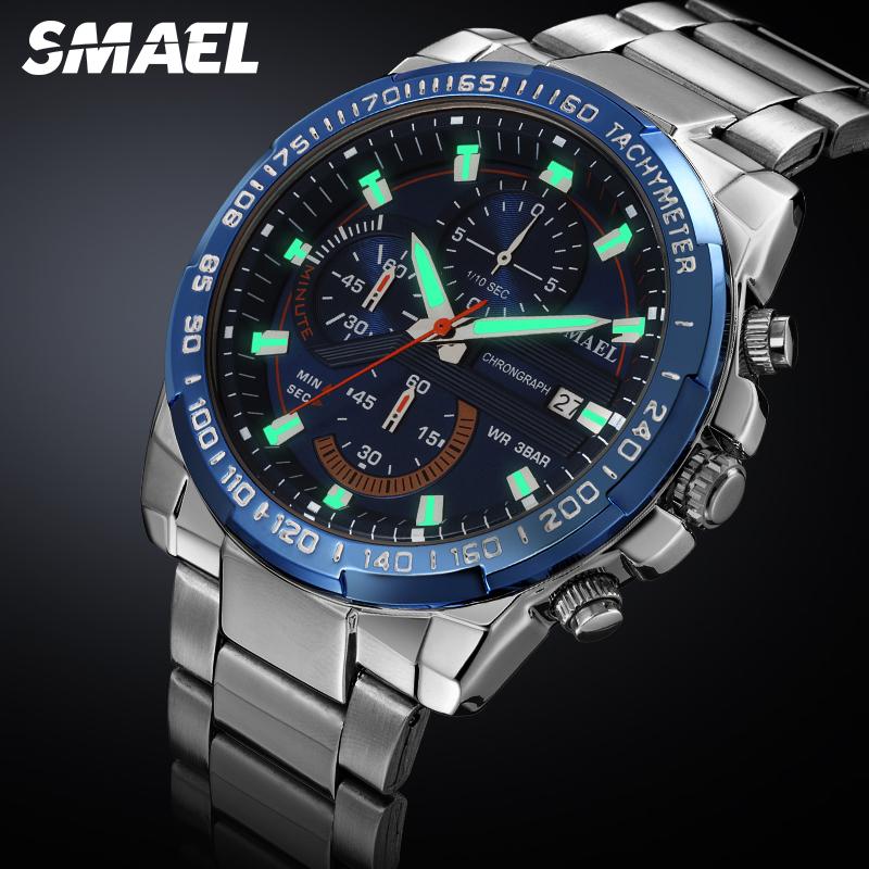 SMAEL Fashion Men Watches Chronograph Stainless Steel Band Watch With Luminous Hand Blue Clock Male Sport Wristwatch 9089