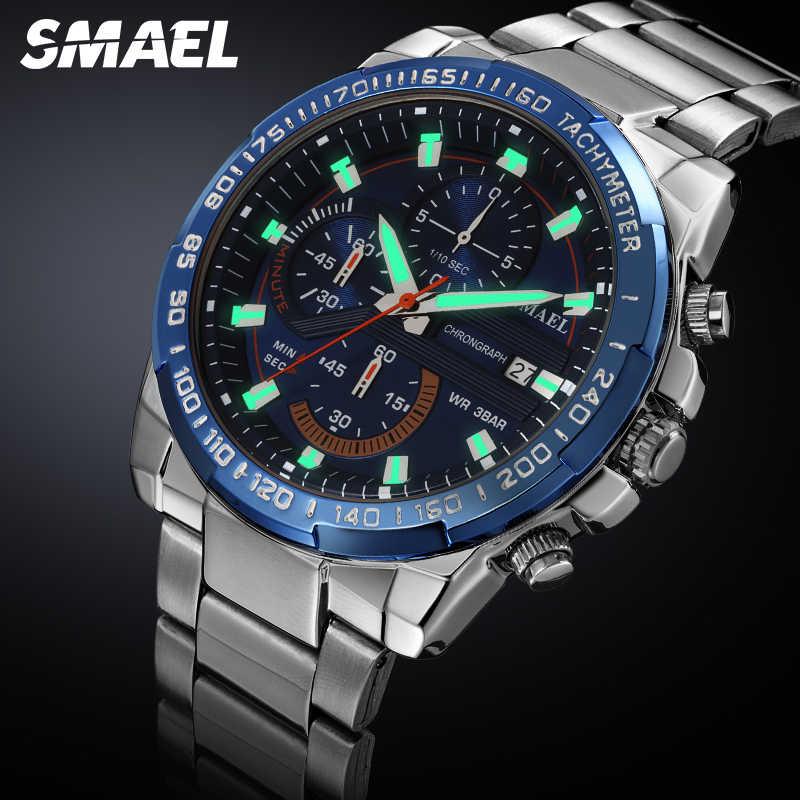 SMAEL montres hommes LED lumineuse affichage Quartz montre-bracelet Date chronographe horloge mâle Sport militaire hommes montres étanche