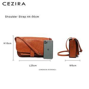 Image 5 - Bolso CEZIRA de marca de diseñador, bandolera para mujer, bolso de mano con solapa de piel vegana de alta calidad, bandolera Lisa para mujer