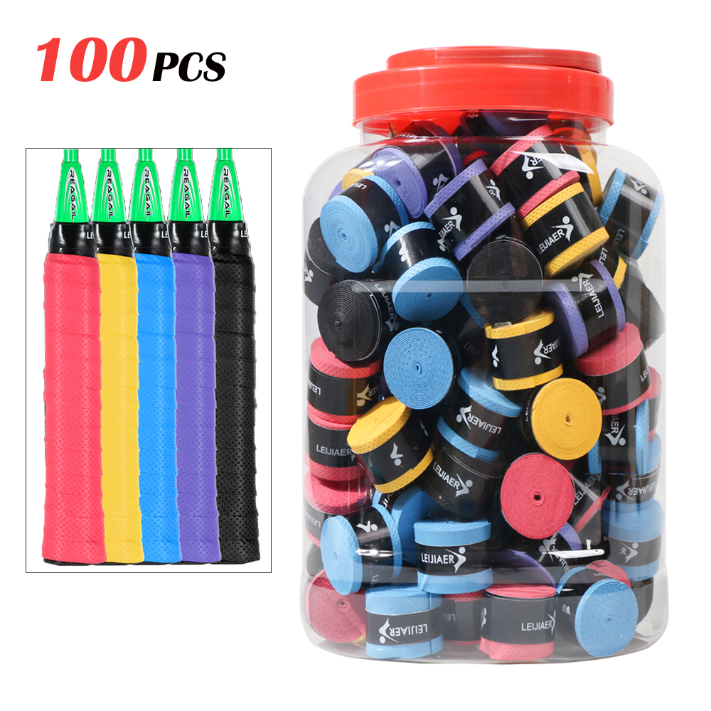 100/60/30Pcs Tennis Racket Overgrips Anti-skid Sweat Tape Wraps Badminton Racquet Hand Gel Non-slip Dry Fishing Sweat Band Grip