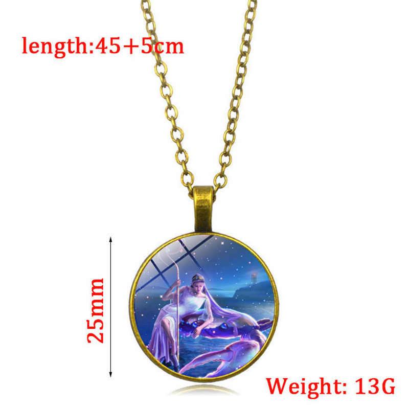 (12 ชิ้น/ล็อต) จี้สร้อยคอ Constellation Star สร้อยคอเข้าสู่ระบบราศีสิบสอง constellations horoscope สำหรับของขวัญผู้หญิงผู้หญิง