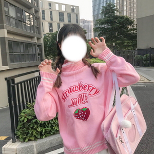 Image 3 - Winter Cute Women Turtleneck Sweater Harajuku Kawaii Strawberry Milk Pink Femme Pull Jumper High Neck White Knitted Sweaters