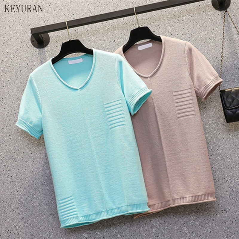 Plus Size V-Neck Patchwork Solid Knitted T-Shirt Femme Knitted Sweater Tees Tops Women 2021 Summer T Shirt Womens Femme T-Shirts