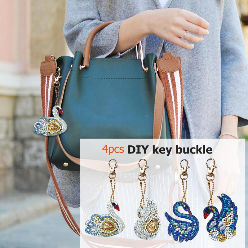 4pcs new DIY key Full Drill Special Shaped Diamond Painting Swan Shape Keychain Key Ornaments Embroidery Coin Purse Gifts