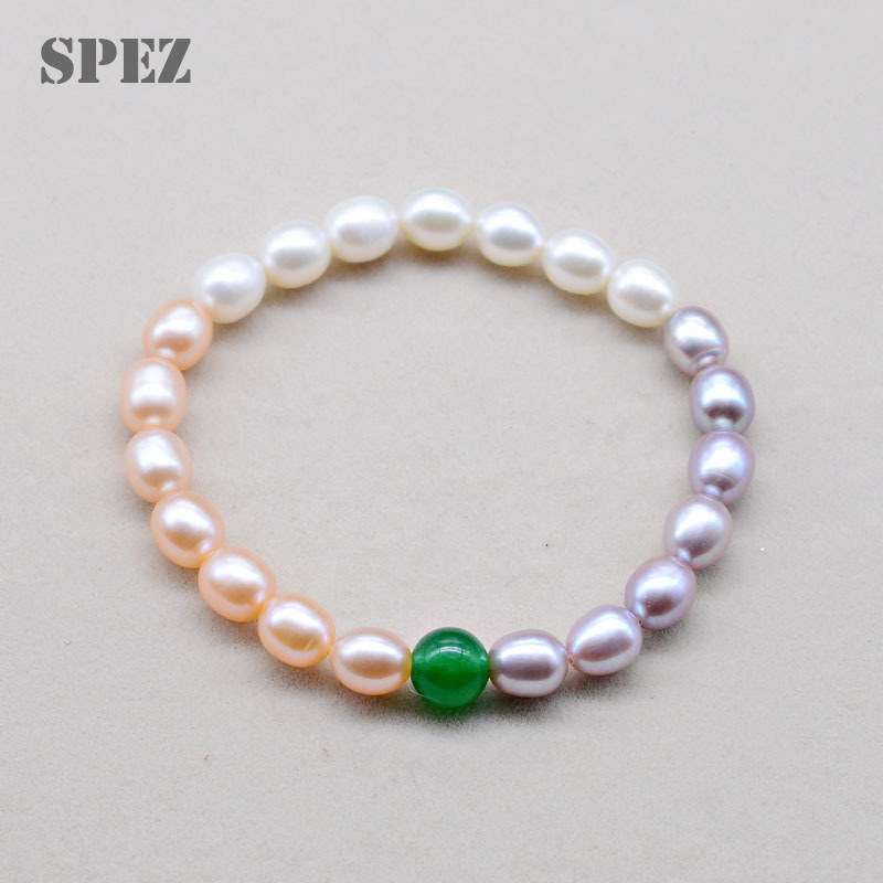 Pearl Bracelets 7-8mm Natural Freshwater Pearl Bangles For Women Jewelry Gift with Green/Red Agate SPEZ