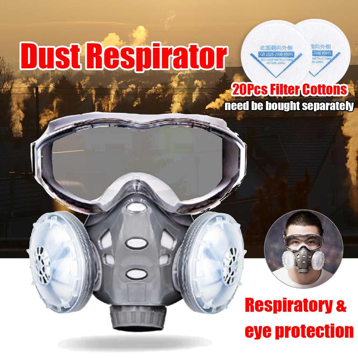 308 8200 Dust Mask Respirator With Safety Glasses Dual Filters Cotton Full Face Mask Dust-proof For Carpenter Builder Polishing