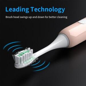 Image 3 - Escova de dentes elétrica onda sonora recarregável ipx7 à prova dwaterproof água inteligente chip cabeça escova de dentes usb recarregável