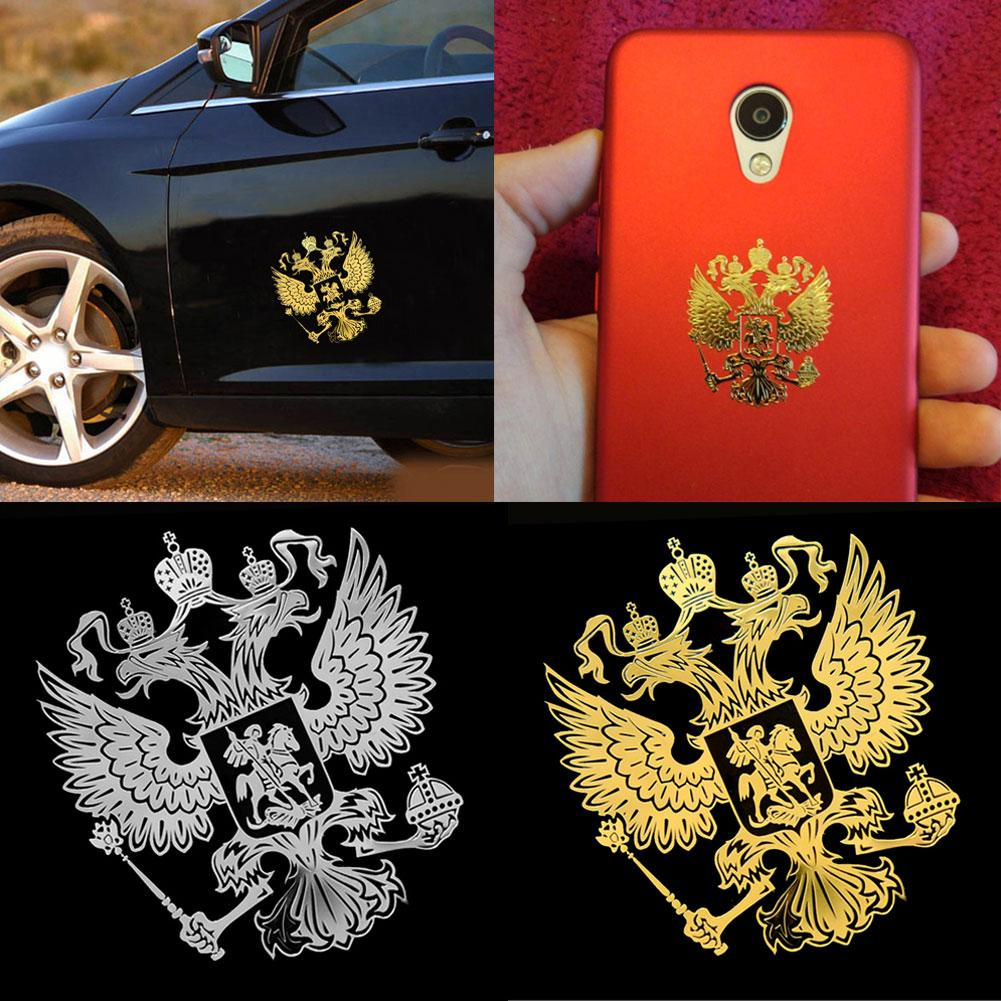 3D Car Sticker Gold Crests Of Russia Nickel Metal Car Car Stickers Decals Russian Car Stickers наклейки на авто Carro Adesivos