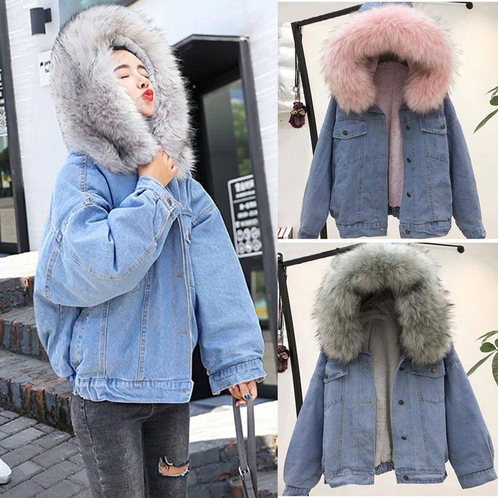 Fashion Women Coats New Warm Denim Short Coat Collar Jacket Slim Winter Hooded Outwear