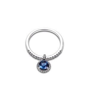 Image 2 - Autentico anello in argento Sterling 925 con pendenti rotondi scintillanti per le donne gioielli fai da te che fanno anelli regalo per la festa nuziale di fidanzamento